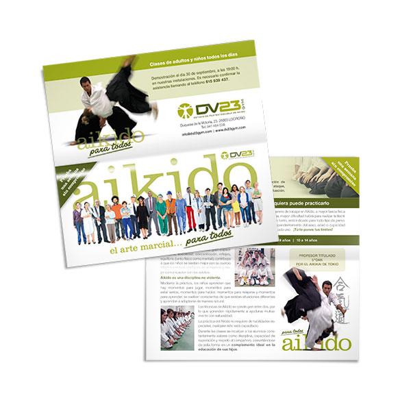 Impresos publicitarios: DV23 Gym, folleto aikido