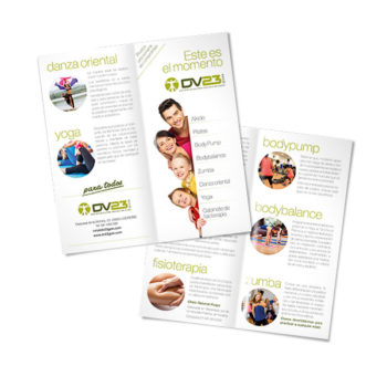 Impresos publicitarios: DV23 Gym, folleto publicitario