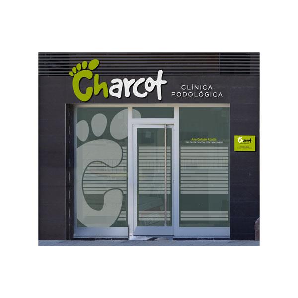 Rotulación: Fachada Charcot, clínica podológica