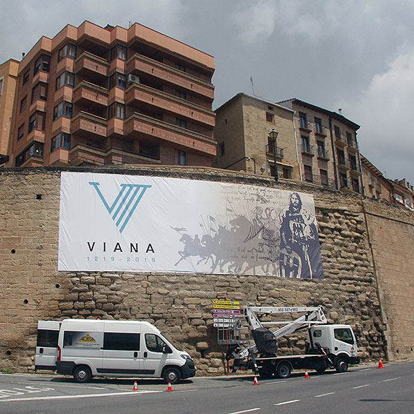 Rotulaciones: VIII Centenario Viana, lona