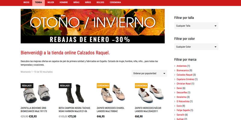 Sitio web: Tienda online Calzados Raquel