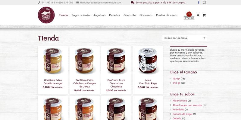 Sitio web: Tienda online La Casa de la Mermelada